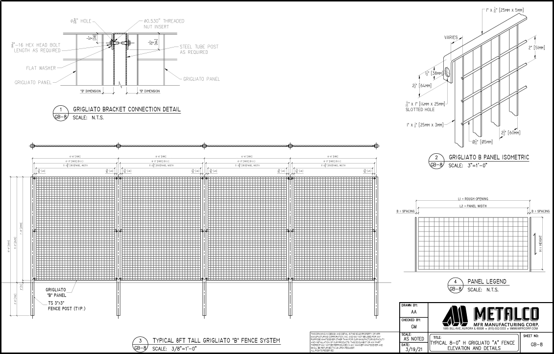 """Grigliato """"B"""" typical fence system"""