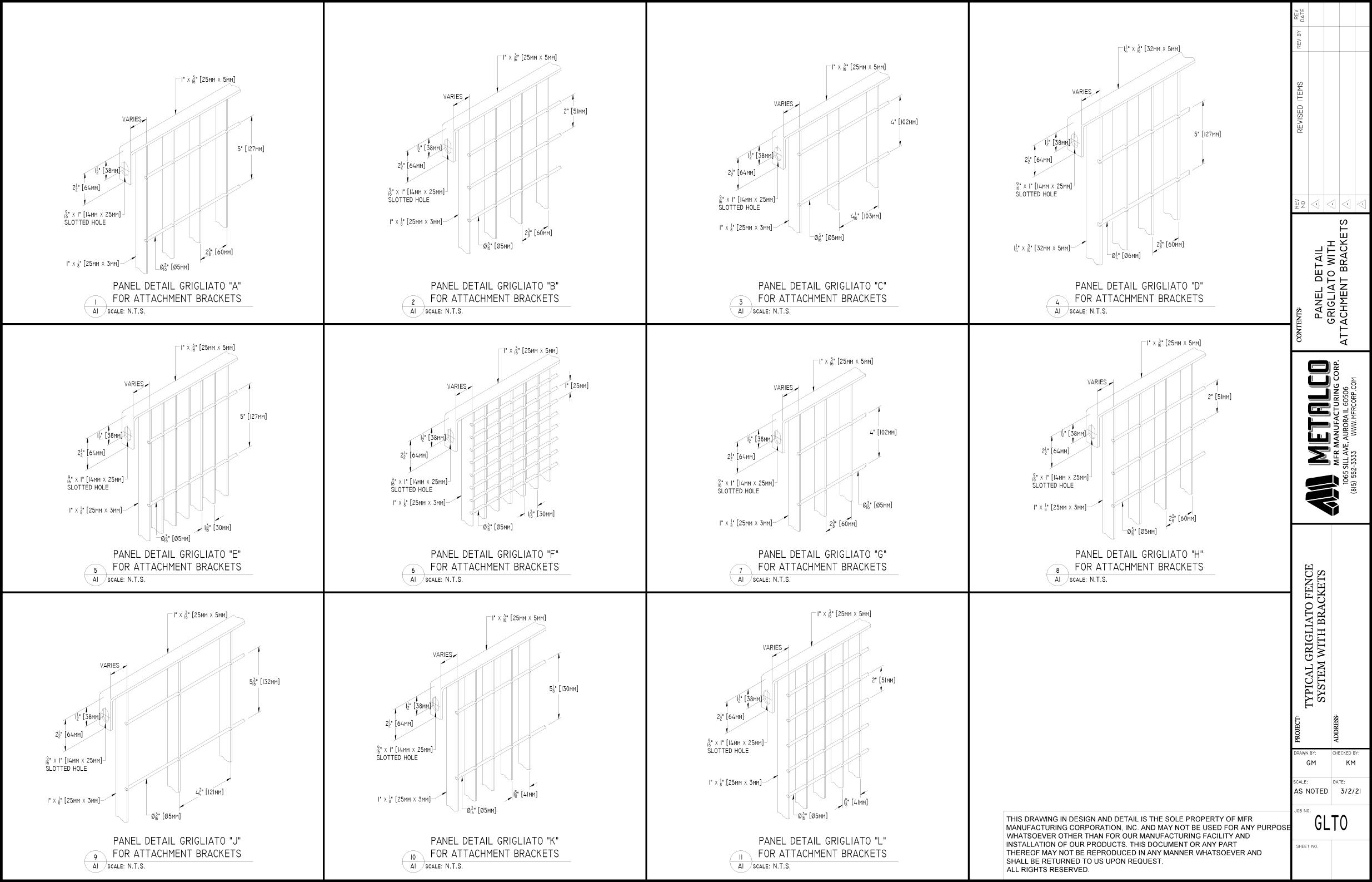 """GRIGLIATO"" panel types shown w. bracket"