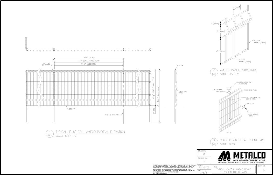 AMEGO Fence 4′-0″ tall