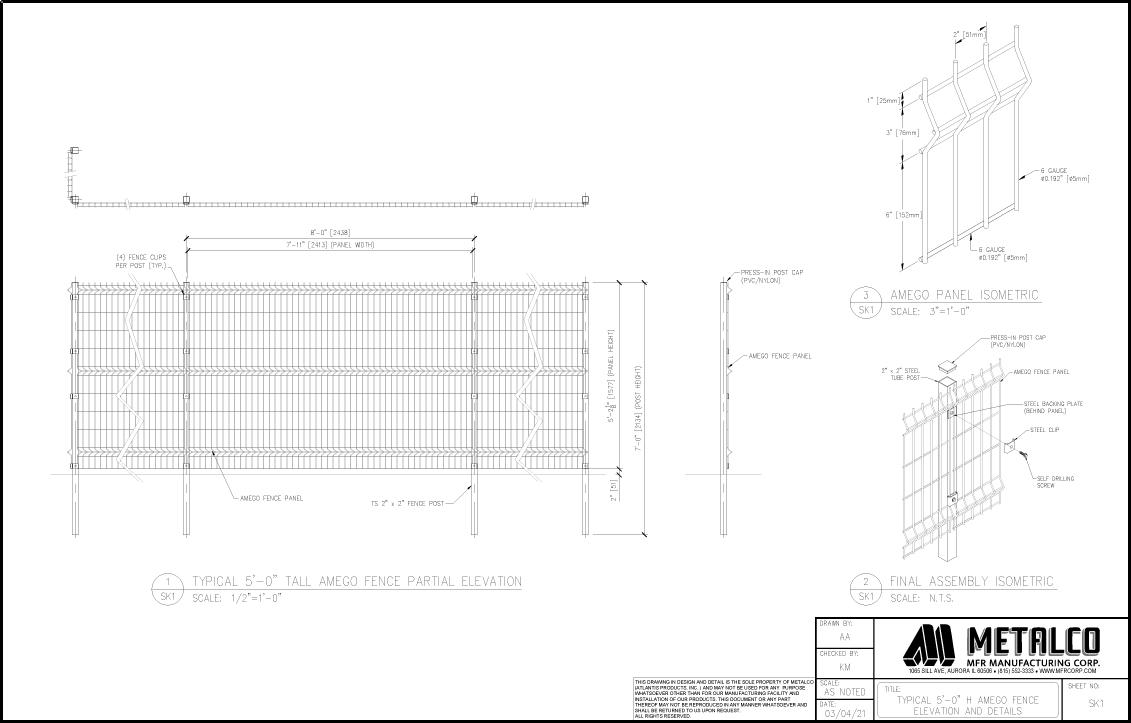 AMEGO Fence 5′-0″ tall
