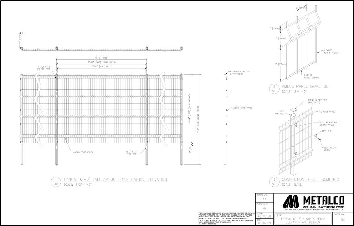 AMEGO Fence 6′-0″ tall