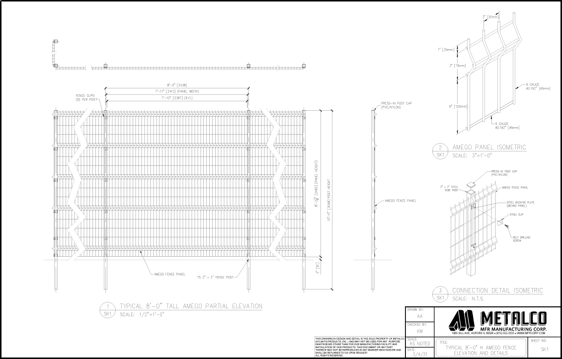 AMEGO Fence 8′-0″ tall