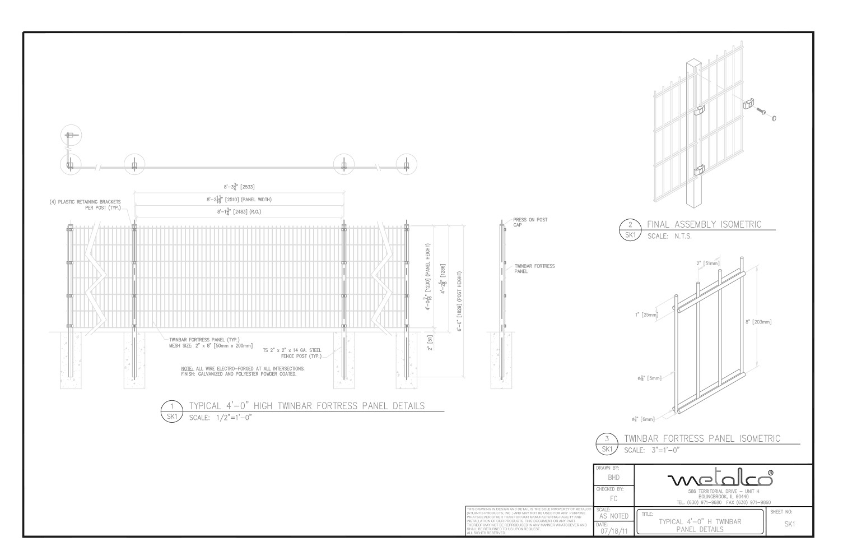TWINBAR Fence 4′-0″ tall