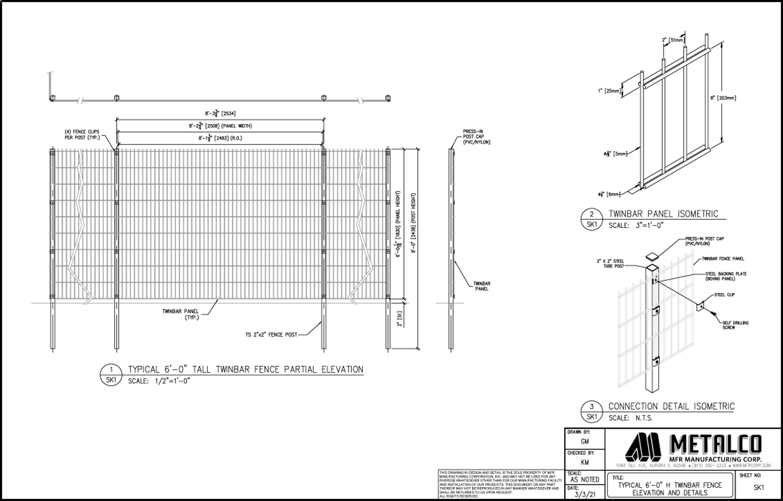 TWINBAR Fence 6′-0″ tall