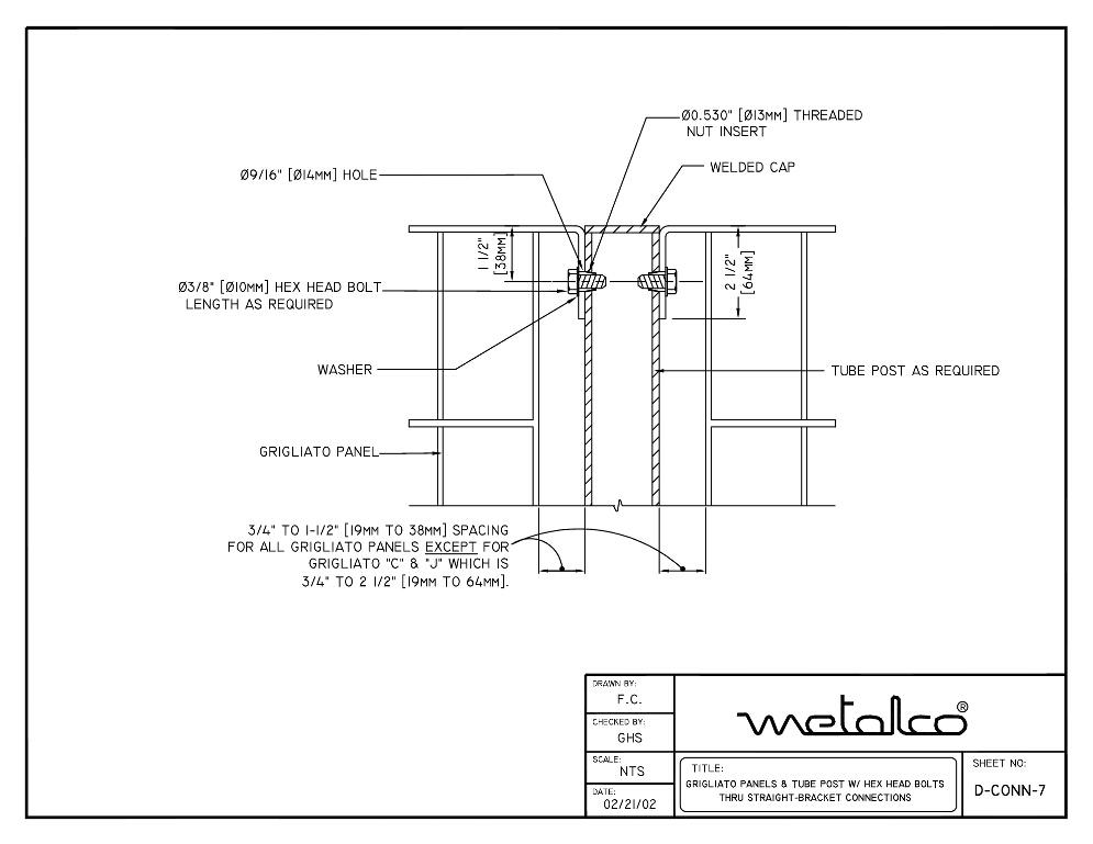 """Grigliato"" tubular post connection bracket mount"