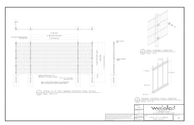TWINBAR Fence 5′-0″ tall
