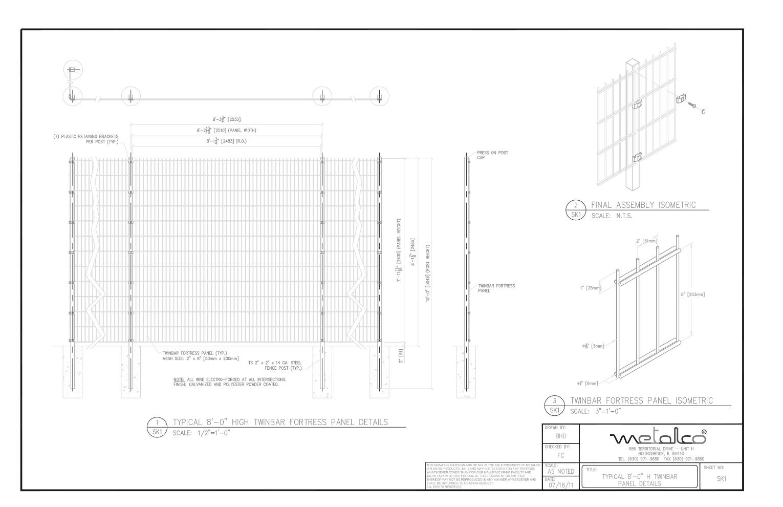 TWINBAR Fence 8′-0″ tall