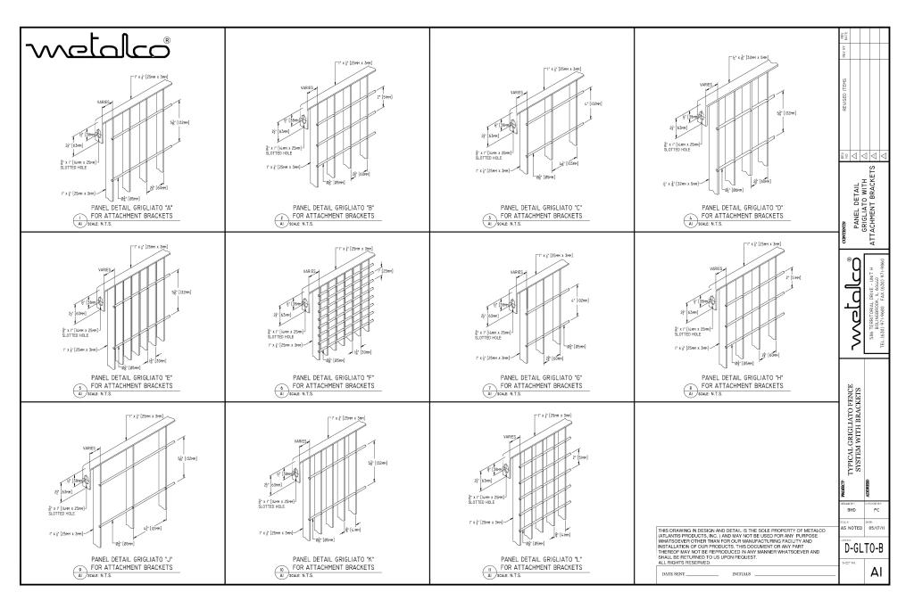 Grigliato panel types for bracket mount