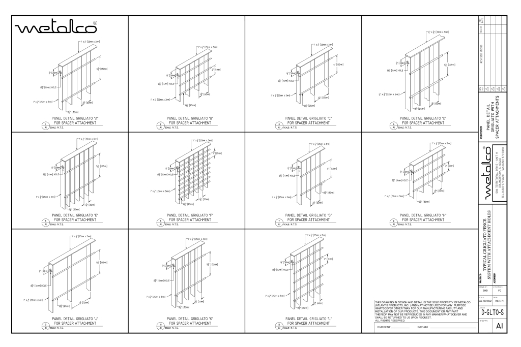 Grigliato panel types for spacer mount